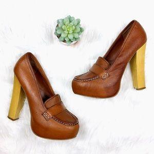 [Steve Madden] Leather Loafer Block Heel Pumps